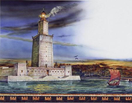 亚历山大灯塔的遗址在埃及亚历山大城边的法罗斯岛